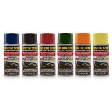 E-TECH Lens Tint Colour range - 150ml can - blue, smoke, red, green, orange, yellow. Car headlight and taillight tinting spray